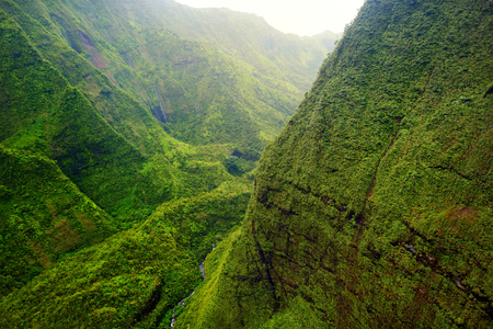 rock formation: Mount Waialeale known as the wettest spot on Earth, Kauai, Hawaii Stock Photo