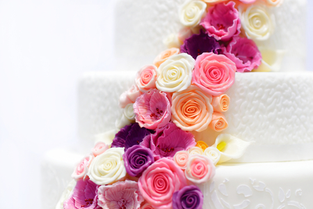 Detail of a white wedding cake decorated with pink sugar flowers detail of a white wedding cake decorated with pink sugar flowers stock photo 41143343 mightylinksfo