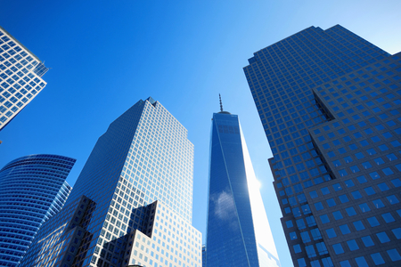 directly below: Skyscrapers in the downtown of New York, view from below