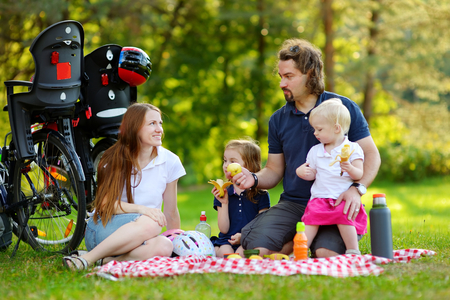 picnicking: Happy family of four picnicking in the park on beautiful summer day Stock Photo