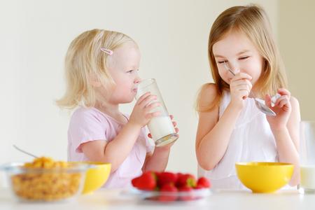 comiendo cereal: Dos pequeñas hermanas lindas comer cereal con fresas y leche de consumo en la cocina blanca Foto de archivo