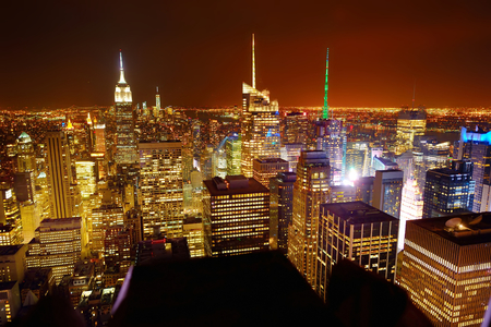 Aerial view of Manhattan New York at night looking from Top of the Rock, Rockefeller center