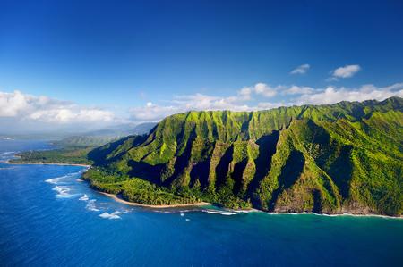 hawaii: Beautiful aerial view of spectacular Na Pali coast, Kauai, Hawaii