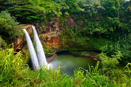 hawaii: Majestic twin Wailua waterfalls on Kauai, Hawaii Stock Photo