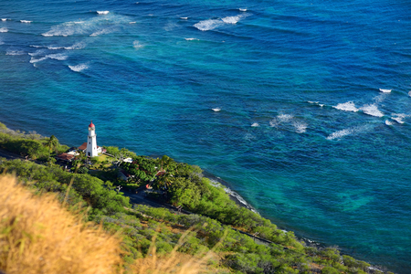 diamond head: Diamond Head lighthouse in Honolulu, Hawaii Stock Photo