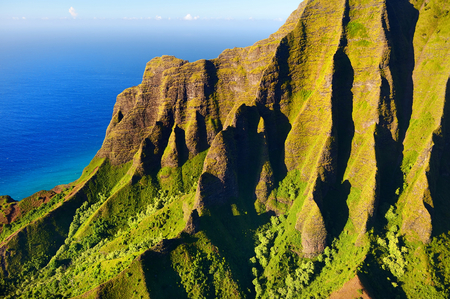 hawaii beach: Beautiful aerial view of spectacular Na Pali coast, Kauai, Hawaii