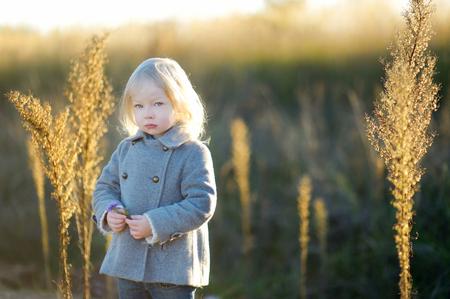 mignonne petite fille: Portrait d'une petite fille mignonne sur la belle journée d'automne d'or