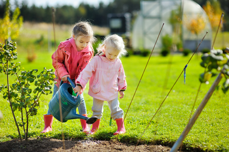 Two adorable little mommy's helpers watering plants in the garden on beautiful autumn day