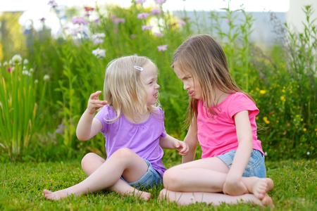 stubbornness: Two little sisters fighting outdoors on summer day