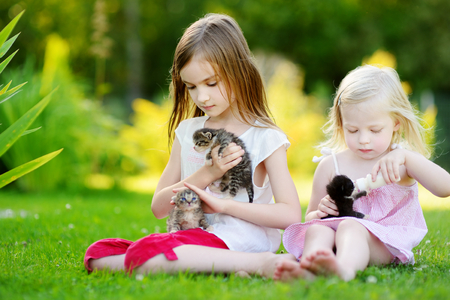 cute pussy: Two adorable little girls feeding small kittens with kitten milk from the bottle at summer day