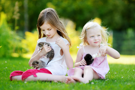 kitten: Two adorable little girls feeding small kittens with kitten milk from the bottle at summer day