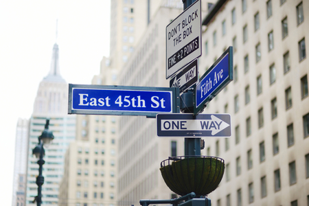 ave: Intersection of East 45th street and 5th Ave in New York City