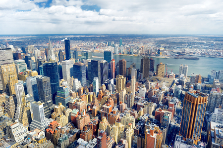 New York City Manhattan skyline aerial view at evening