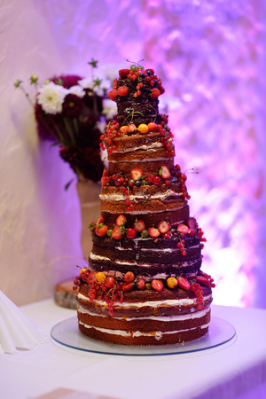 wedding reception decoration: Delicious chocolate wedding cake decorated with fruits and berries