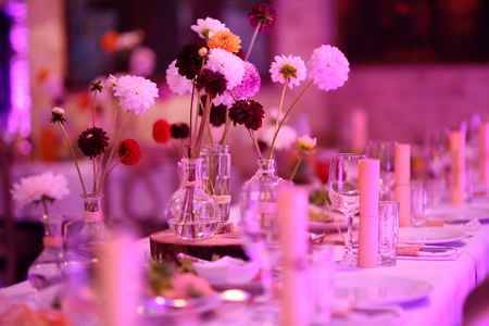 Table set for an event party or wedding reception in purple light Фото со стока