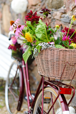 decorated bike: Vintage bicycle decorated with various flowers Stock Photo