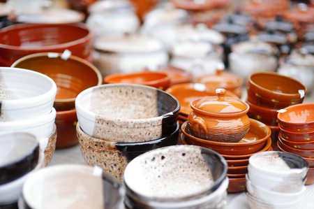 holy jug: Ceramic dishes, tableware and jugs sold on Easter market in Vilnius, Lithuania