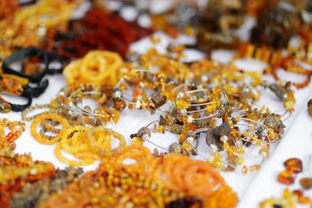 sunday market: Amber bracelets and decorations sold on Easter market in Vilnius, Lithuania