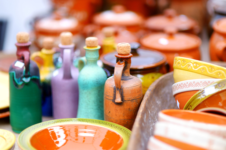 sunday market: Ceramic dishes, tableware and jugs sold on Easter market in Vilnius, Lithuania