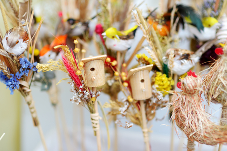 sold small: Cute small nesting boxes sold on spring market in Vilnius, Lithuania Stock Photo
