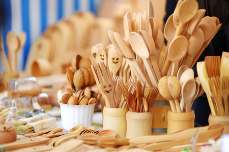 sunday market: Wooden dishes, kitchenware and decorations sold on Easter market in Vilnius, Lithuania