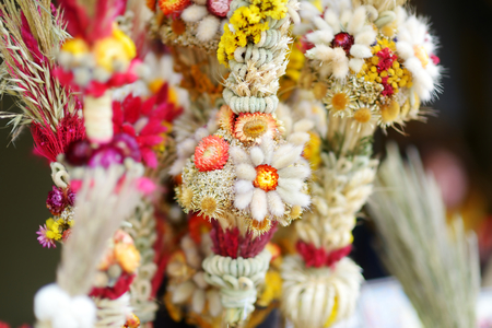 palm sunday: Traditional Lithuanian Easter palm known as verbos sold on spring market in Vilnius, Lithuania