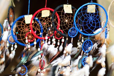 sunday market: Dream catchers sold on spring market in Vilnius, Lithuania