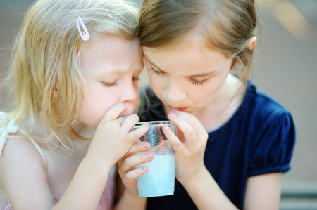 Refreshments: Two cute little sisters drinking cold lemonade on hot summer day