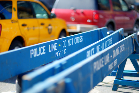 do not cross: Wooden Do Not Cross police barriers in New York, USA