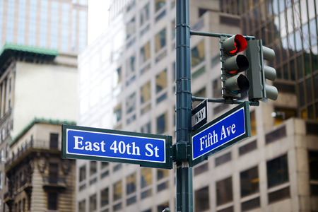 ave: Intersection of East 40th street and 5th Ave in New York City Stock Photo