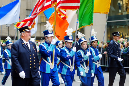 march 17: NEW YORK, USA - MARCH 17, 2015: The annual St. Patricks Day Parade along fifth Avenue in New York City, USA