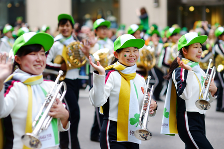 fifth avenue: NEW YORK, USA - MARCH 17, 2015: The annual St. Patricks Day Parade along fifth Avenue in New York City, USA