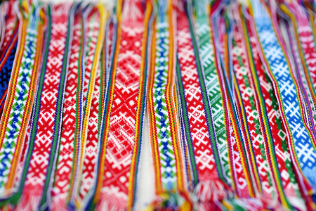 neckband: Details of a traditional colorful Lithuanian weave