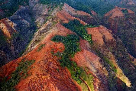 kauai: Stunning aerial view into Waimea Canyon, Kauai, Hawaii Stock Photo