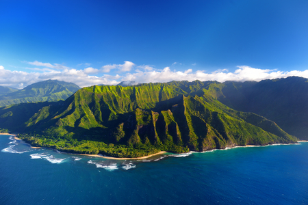 ridge of wave: Beautiful aerial view of spectacular Na Pali coast, Kauai, Hawaii