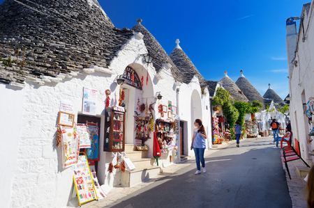 the world cultural heritage: LBEROBELLO, ITALY - MAY 30, 2015: Traditional trulli houses in Alberobello, Italy
