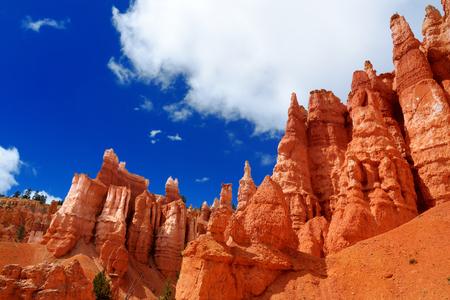 hoodoos: Scenic view of stunning red sandstone hoodoos in Bryce Canyon National Park in Utah, USA