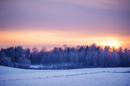 Friedliche Winter ländlichen Landschaft bei Sonnenuntergang