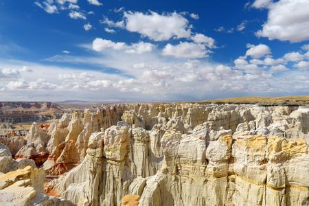 Scenic view of stunning white striped sandstone hoodoos in Coal Mine Canyon near Tuba city, Arizona, USA