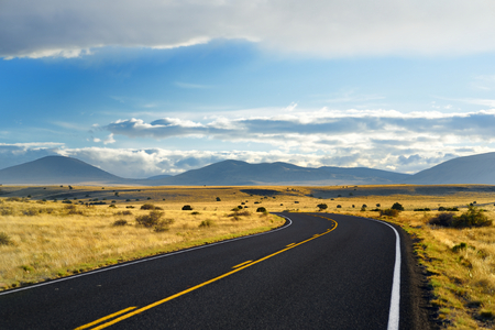 Beautiful endless wavy road in Arizona desert, USA