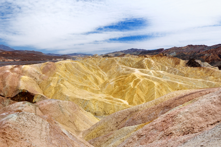 Stunning view of famous Zabriskie Point in Death Valley National Park, California, USA Stock Photo