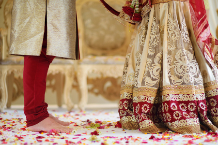 Amazing hindu wedding ceremony. Details of traditional indian wedding. Beautifully decorated hindu wedding accessories. Indian marriage traditions.