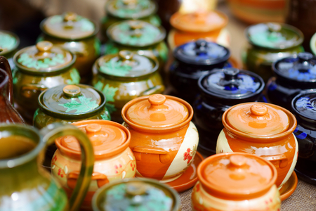 tradition: Ceramic dishes, tableware and jugs sold on Easter market in Vilnius. Lithuanian capitals annual traditional crafts fair is held every March on Old Town streets.