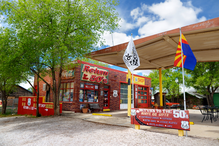 SELIGMAN, ARIZONA, USA - MAY 1, 2016 : Colorful Route 66 decorations in Seligman Historic District. Seligman was on the original U.S. Route 66 until Interstate 40 bypassed it a couple miles south. Editorial