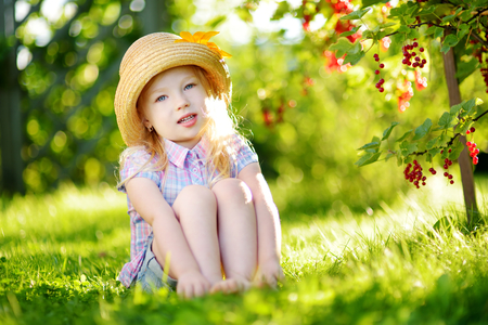 Cute little girl picking red currants in a garden on warm and sunny summer day