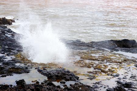 blowhole: Famous Spouting Horn blowhole of the Kauai, Hawaii