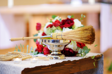 Priests wedding accessories during catholic wedding ceremony in a church Stock Photo