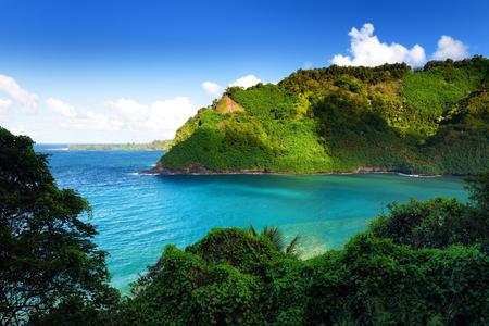 Beautiful views of Maui North coast seen from famous winding Road to Hana. Hawaii, USA. Reklamní fotografie