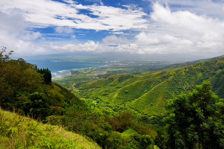 Stunning landscape view seen from Waihee Ridge Trail, overlooking Kahului and Haleakala, Maui, Hawaii, USA