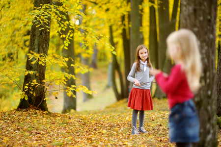 Two cute little girls having fun on beautiful autumn day. Happy children playing in autumn park. Kids gathering yellow fall foliage. Autumn activities for children.
